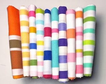 Vintage Sheet Fat Quarter Bundle - Stripey Striped Stripes - Set of 10