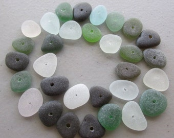 Genuine Beach Glass Supply Drilled Sea Glass Beads Jewelry Medium Bulk Assorted Bulk Lot Beach Find Bracelet Earrings Findings Gems Pieces