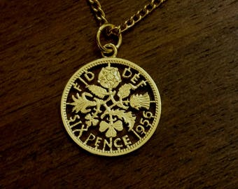 1956 Sixpence - Cut Out Coin Necklace