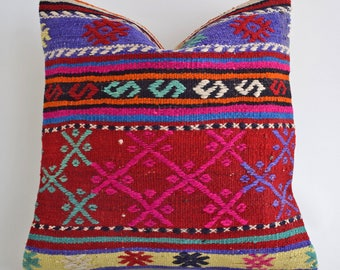 SALE! 16x16 Vintage Wool Turkish Kilim Pillow, Designer Pillow, decorative pillows for couch pink decorative pillows decorative pillows blue