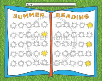 Summer Reading Chart, Printable, JPEG Instant download,
