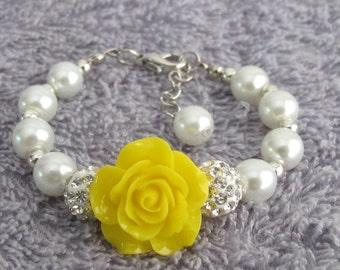 Flower Girl Bracelet with flower, Yellow Flower bracelet, Pearl and Rhinestone Kids Bracelet,Flower girl Bracelet Gift, Free Shipping In USA