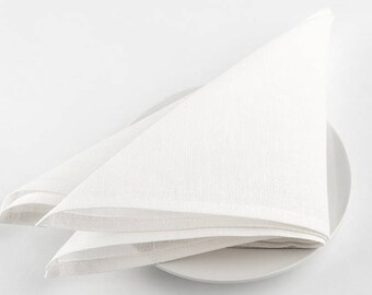 LINEN NAPKINS SET 6 Off-white  Medium-weight 100% linen napkins Rustic linen napkins Wedding napkins Dinner napkins