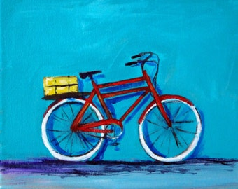 Beach Bike Original Acrylic Painting 8 x 10 Bicycle Cycling
