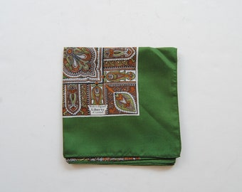 Liberty of London Square Silk Scarf Pocket Square in Green Paisley