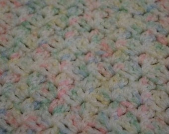 HANDMADE Crochet Baby Blanket Afghan Crib Multi color 30x20
