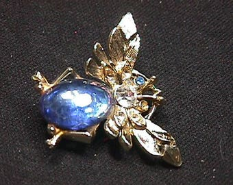Vintage Butterfly Jelly Belly Brooch as-is