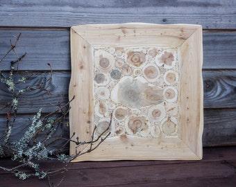 Juniper Wood Wall Hanging, Natural Wooden Wall Art, Handmade Wall Decor, Juniper in a Frame, Rustic Wall Art, Untreated Wood