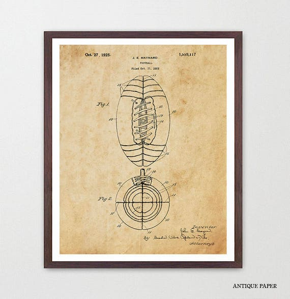 Football Poster - Football Art - Old Football - Football Patent - Football Decor - Vintage Football - Football Wall Art - College Football