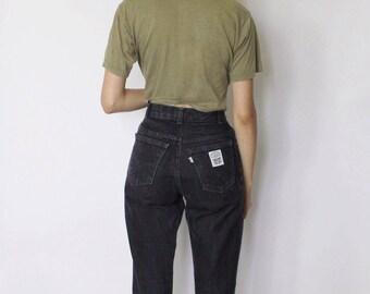 Vintage Levi's 1970s Denim Jeans 23.5   Levis High Waist Denim Jeans   Black Denim Jeans