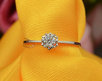 18k White Gold Diamond Engagement Ring Wedding Ring Classic Birthday Anniversary Valentine's
