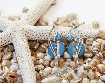 Baby Blue Earrings, Light Blue Earrings, Pale Blue, Sky Blue Jewelry, Wirework Earrings, Coco Shells, Blue Dangle Earrings, Pastel Earrings