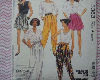 vintage 1990s sewing pattern McCalls 5363 misses harem style pants or shorts size 6-8-10