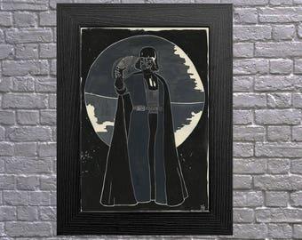 Darth Vader Death Star Art Print A4