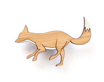 Fox brooch - laser cut jewellery - wooden fox brooch - fox jewelry - fox badge