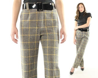 Vintage 60s Bobbie Brooks Pants Plaid Wool Trousers Black White Tweed 1960s Medium M High Waisted Flared Mod Slacks