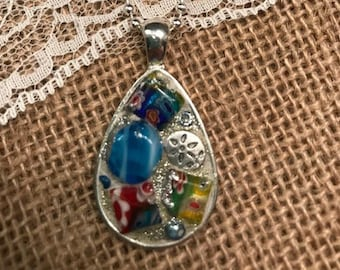 Tear Drop Silver Plated Pendant with Multicolor Mosaic Glass Beads With a Ball Chain