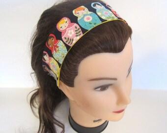 Matryoshka  russian nesting doll reversible headband with yellow/ reversible headband/ dolly bow reversible headband