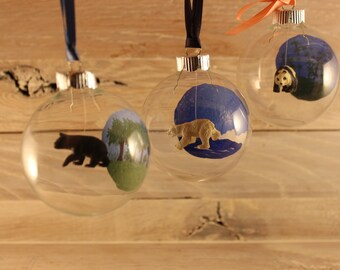 Personalized Hand Painted Miniature Bear Glass Ornament