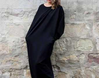Black Maxi dress/ Black dress/ Black kaftan/ Long Sleeve Dress/ Maxi Dress/ Plus Size Dress/ Long dress/ Plus Size Clothing/ Caftan/ 134.121