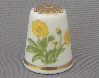 Spode Thimble - Flower of the Year, 1986