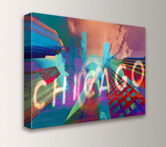 "Chicago Art - Canvas Print - Archival Digital Print - Downtown Chicago - Red Teal and Purple Art Collage - Mixed Media -"" Chi-Town """