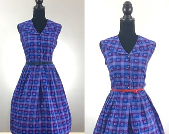 Purple Patio Vintage Dress, Vintage Day Dress, VLV Dress, Rockabilly Dress, Vintage Size Medium, Plaid Dress, Sailor Dress, Lavender Dress