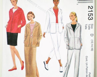 Casual 1990s Weekend Wear McCall's 2153 Sizes 12-14-16 - hooded jacket, maxi or knee length skirt, capris, straight leg pants, cruise wear
