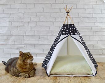 Cat teepee, teepee for cat, tipi cat, tent teepee, dog teepee, cat bed, dog bed, cat house, cat cushion - star pattern - black & white