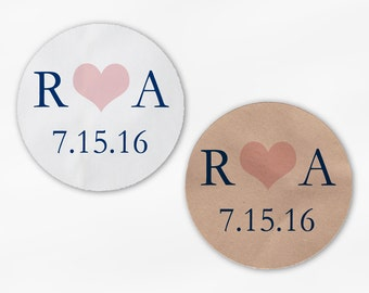 Initials & Heart Wedding Favor Stickers - Navy and Blush Pink Custom White Or Kraft Round Labels for Bag Seals, Envelopes, Mason Jars (2004)