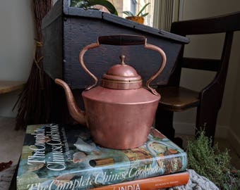 Copper Tea Kettle with Tin Lining/Wooden Turn Handle/Made in Italy/1930's/Vintage Tea Kettle