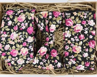 ZARA: Floral Tie, Floral Ties, Ties for Men, Gifts for Men, Wedding Tie, Floral Pocket Square, Groomsmen Gifts,  Black Tie, Vintage Look