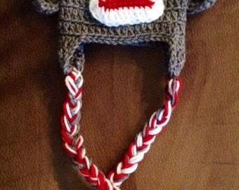 Easter basket stuffer, Easter gift, crocheted sock monkey hat with ear flaps and braids, monkey costume hat, handmade hat