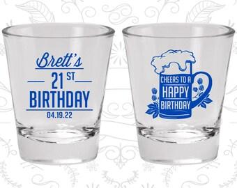 21st Birthday, Cheers to a Happy Birthday, Birthday Glasses (20005)