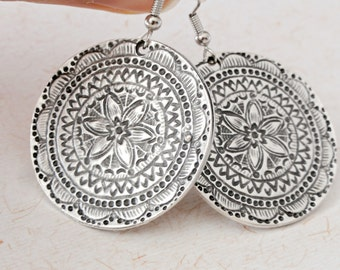 Mandala earrings, Silver plated sequin earrings ,ethnic disc earrings, ethnic jewelry, mandala jewelry, antique jewelry, bohemian earrings