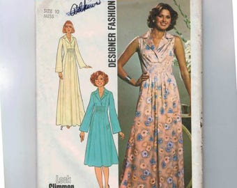 1970s Vintage Sewing Pattern Simplicity 7794 Misses Tucked Front Princess Seam Dress Size 10 Bust 32 1/2 1976 70s UNCUT