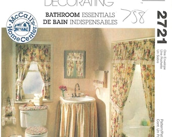 McCalls Crafts 2721 Sewing Pattern For Bathroom Essentials Shower Curtain  Sink Skirt Toilet Covers Window Treatments