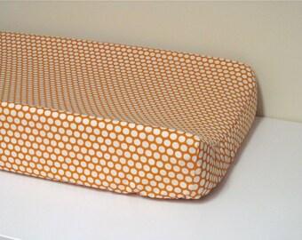 Organic Cotton Changing Pad Cover - Contoured - Dottie in Cream and Orange