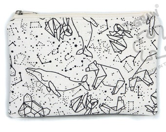 Galaxy zipper pouch, pencil case, make up bag, canvas purse, card holder, back to school