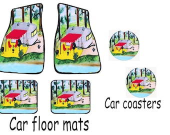 Air stream retro camper by the lake car mats front and rear with matching car coasters from my original design