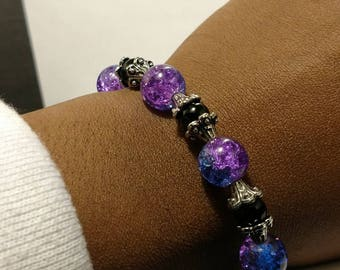 Galaxy bead with Silver capped black bead