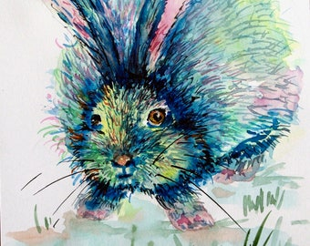 Blue Rabbit painting Original watercolor painting Nursery decor Nursery art Watercolor rabbit painting Watercolor animal painting kids room