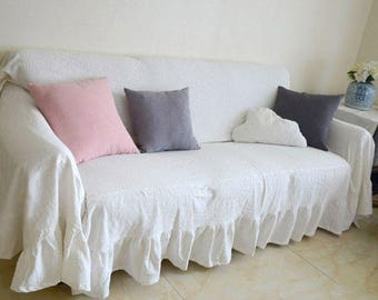 100% PURE RAMIE Custom Slipcovers Made To Measure   Ruffled Slipcover THROW Cover  Sofa Cover Sofa Couch Cover Farmhouse Cottage Decor