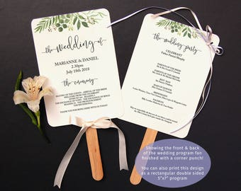 Wedding ceremony printable fan program, 5x7 inch template, print both sides | Boho botanical greenery