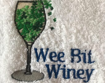 Hand Towel - Embroidered Wee Bit Winey