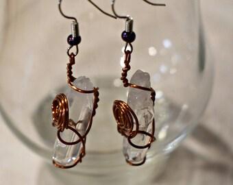 Beautiful Boho Quartz Crystal Copper Wrapped Earrings