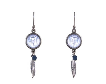 Dreamcatcher print and feather earrings