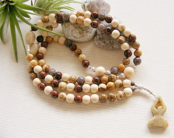 Mahogany Obsidian Picture Jasper Yoga Necklace - Prayer Beads - Wooden Gemstone Yoga Jewellery - Made in the UK