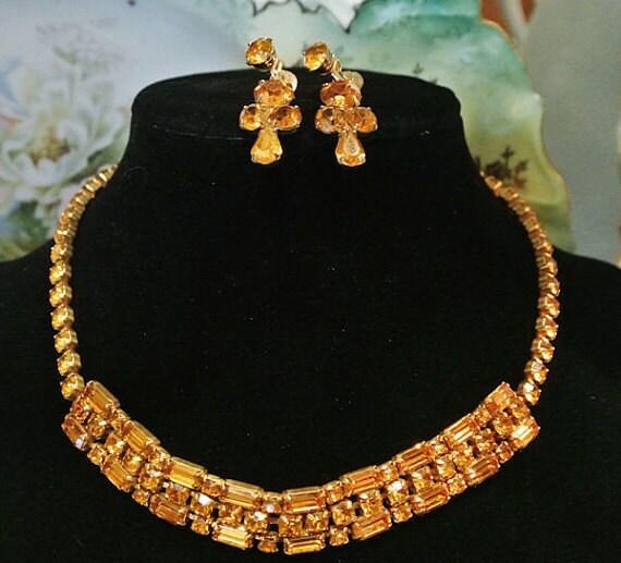 Coro Rhinestone Necklace Earrings Set