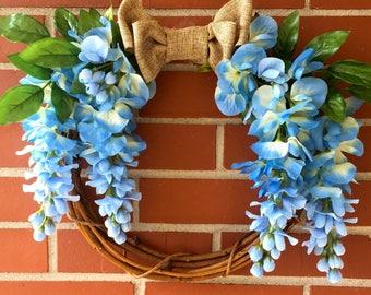 Blue Breeze Wreath, Front Door Wreath, Spring Decor, Summer Decor, Cottage Decor, Grapevine Wreath, Burlap Ribbon, Blue Wisteria, Greenery